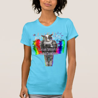 Animal Astronauts in Space Mission Specialist Cow T Shirt