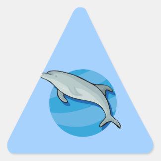 Animal azul del océano de los mamíferos marinos de pegatina triangular