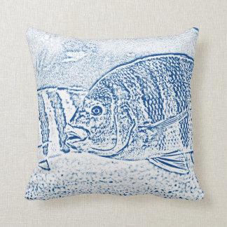 animal azul y blanco de los pescados de cichlid cojín
