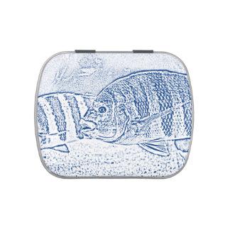 animal azul y blanco de los pescados de cichlid latas de caramelos