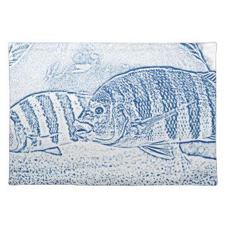 animal azul y blanco de los pescados de cichlid manteles individuales