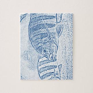 animal azul y blanco de los pescados de cichlid puzzle