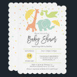 "Animal Baby Shower, Gender Neutral Invitation<br><div class=""desc"">This gender neutral baby shower invitation features hand lettered &quot;Baby Shower&quot; and your information in a grid style on the front, surrounded by baby animals in soft gender neutral colors. The back has coordinating colored polka dots. Use the template form to add your shower details. The Customize feature allows you...</div>"