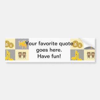 Animal Bear, Lion, Giraffe and Deer - Grey, Yellow Bumper Sticker