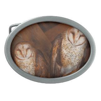 Animal - Bird - A couple of barn owls Oval Belt Buckle