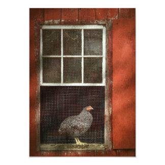 Animal - Bird - Chicken in a window Card