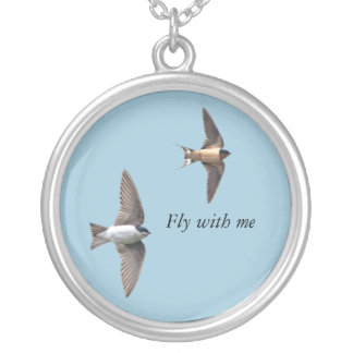 Animal Bird Tree Swallow and Barn Swallow Silver Plated Necklace