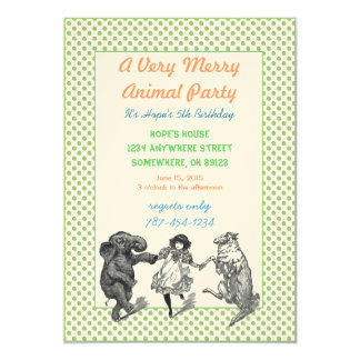 Animal Birthday Party Invitation Green Dot Border
