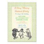 Animal Birthday Party Invitation Green Dot Border