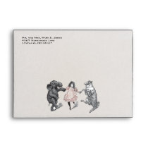 Animal Birthday Party Invitation Green Dot Border Envelope