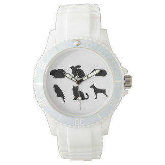 Animal Black Silhouettes Pet Caring Time Watch