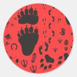 animal box footmark pegatina redonda