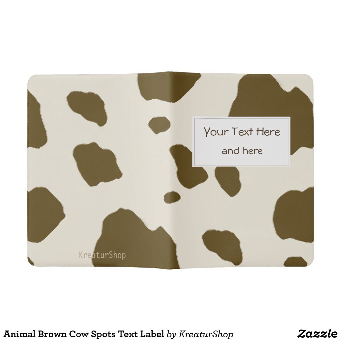 Animal Brown Cow Spots Text Label