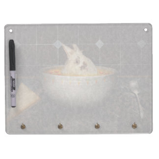 Animal - Bunny - There's a hare in my soup Dry Erase Board With Keychain Holder