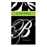 Animal Business Card Zebra Beauty Salon Lime Green