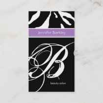 Animal Business Card Zebra Beauty Salon Purple
