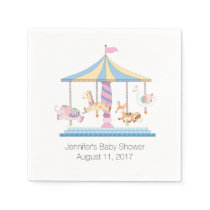 Animal Carousel Baby Shower Paper Napkins