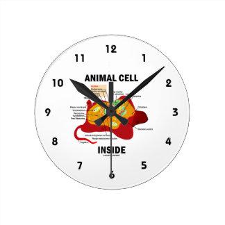 Animal Cell Inside (Biology Eukaryotic Cell) Round Clock