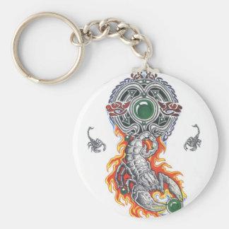 animal celtic scorpion tattoo basic round button keychain