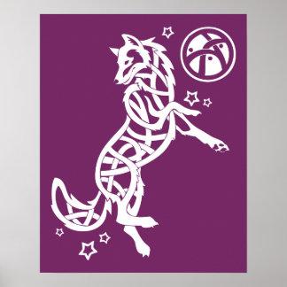Animal céltico tribal del lobo póster