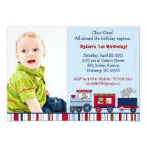 Animal Choo Choo Train Custom Birthday Invitations