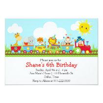 Animal Circus Train Kids Birthday in Red Invitation
