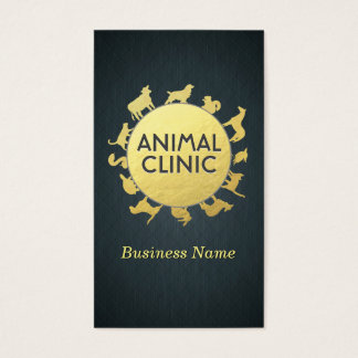 Animal Clinic Hospital Pet Care Sitter Gold Animal Business Card