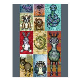Animal Collage Folk Art Design Postcard