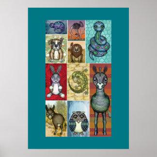 Animal Collage Folk Art Design Poster