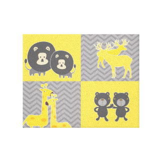 Animal collage on plain and zigzag chevron canvas prints