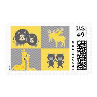 Animal collage on plain and zigzag chevron stamp