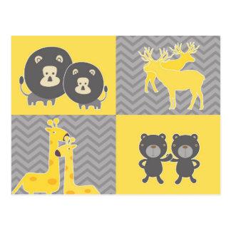 Animal collage on plain and zigzag chevron postcard