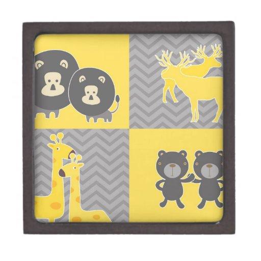 Animal collage on plain and zigzag chevron premium trinket boxes