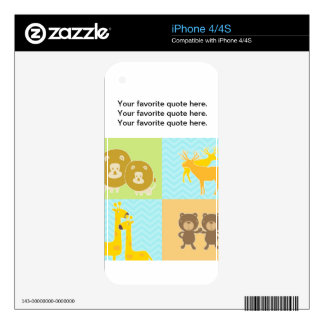 Animal collage on zigzag and  chevron pattern. decal for the iPhone 4S