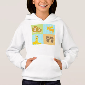 Animal collage on zigzag and  chevron pattern. hoodie