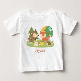 Animal colorido lindo del arbolado para los bebés tshirt