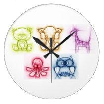 Animal Colors Large Clock