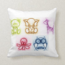 Animal Colors Throw Pillow