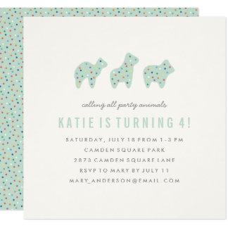 Animal Cookie Birthday Invitation - Mint