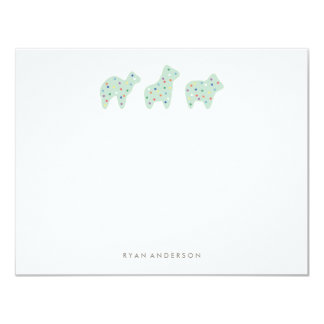 Animal Cookie Parade Kid's Stationery - Mint Card