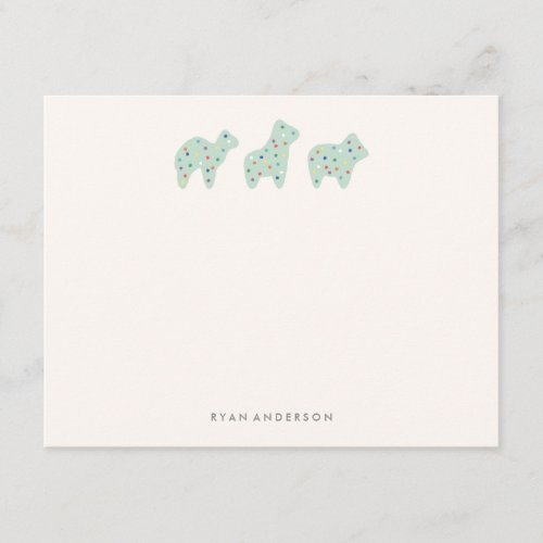 Animal Cookie Parade Kids Stationery _ Mint Note Card