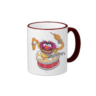 Animal Crashing Through Drums Ringer Coffee Mug