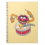 Animal Crashing Through Drums Spiral Note Book