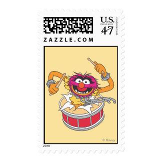 Animal Crashing Through Drums Stamp