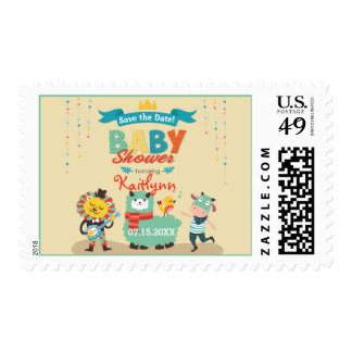 Animal Cuties Celebrate - Neutral Save Date Shower Postage