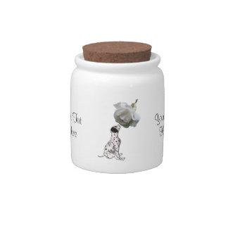Animal dálmata del rosa blanco del perrito jarra para caramelo
