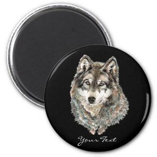 Animal de encargo de la acuarela del lobo del nomb imán redondo 5 cm