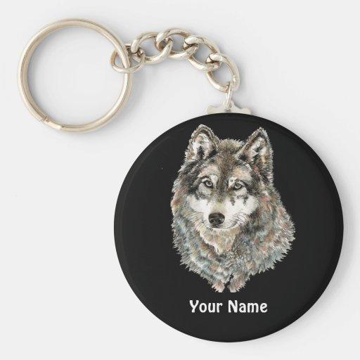 Animal de encargo de la acuarela del lobo del nomb llavero personalizado