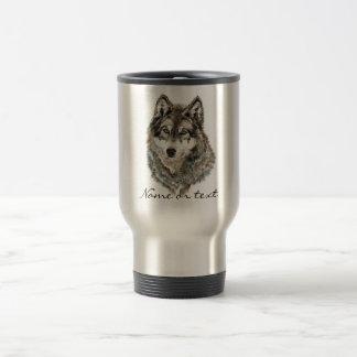 Animal de encargo de la acuarela del lobo del nomb taza de café
