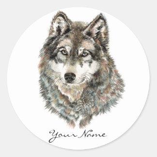 Animal de encargo de la acuarela del lobo del pegatina redonda
